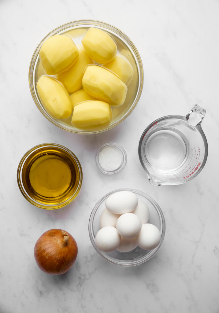 Ingredients needed for the best overnight potato kugel.